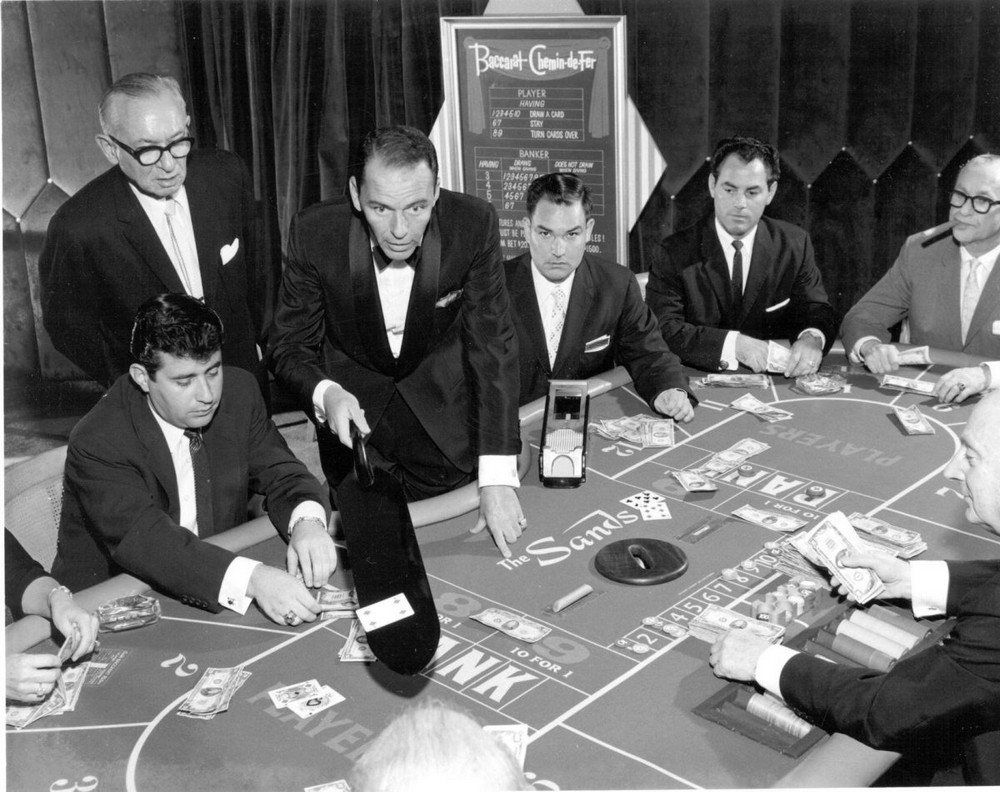 Frank Sinatra playing baccarat at the Sands Casino, Las Vegas, November 1959.