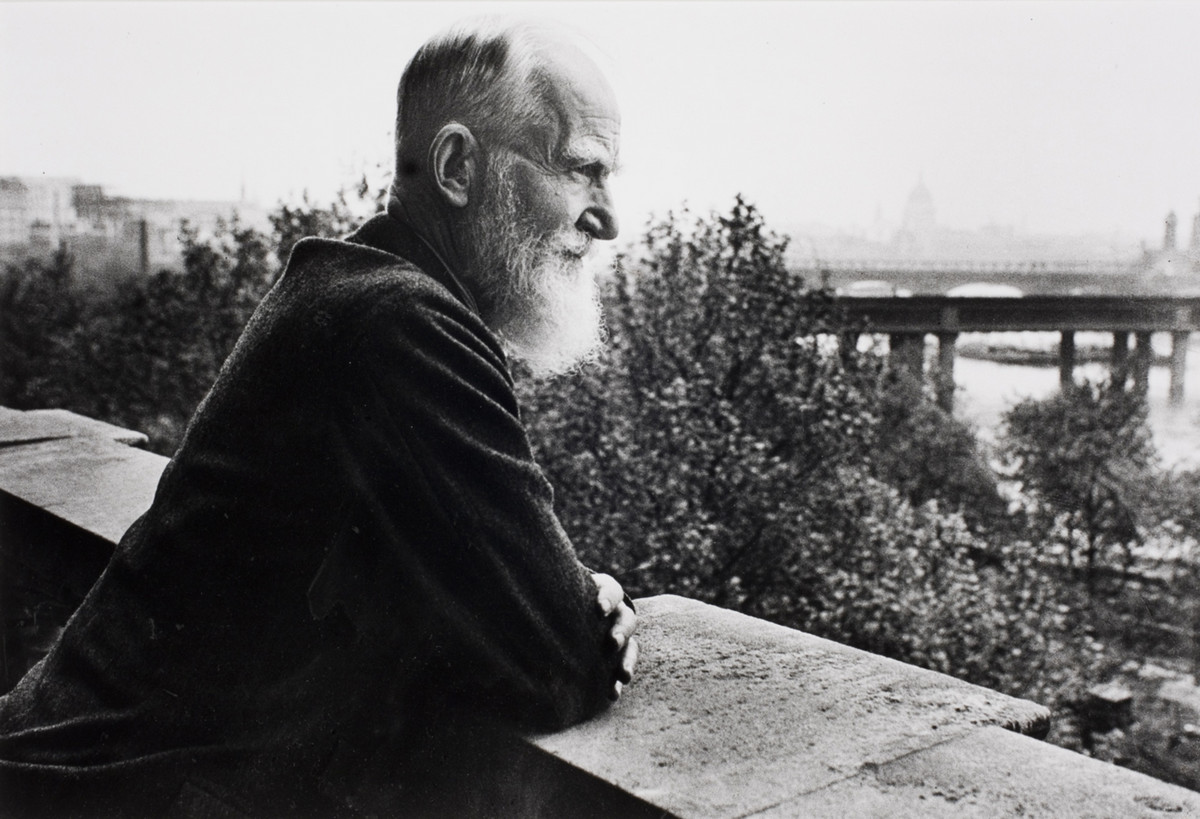 George Bernard Shaw on his balcony in London, England, 1931.