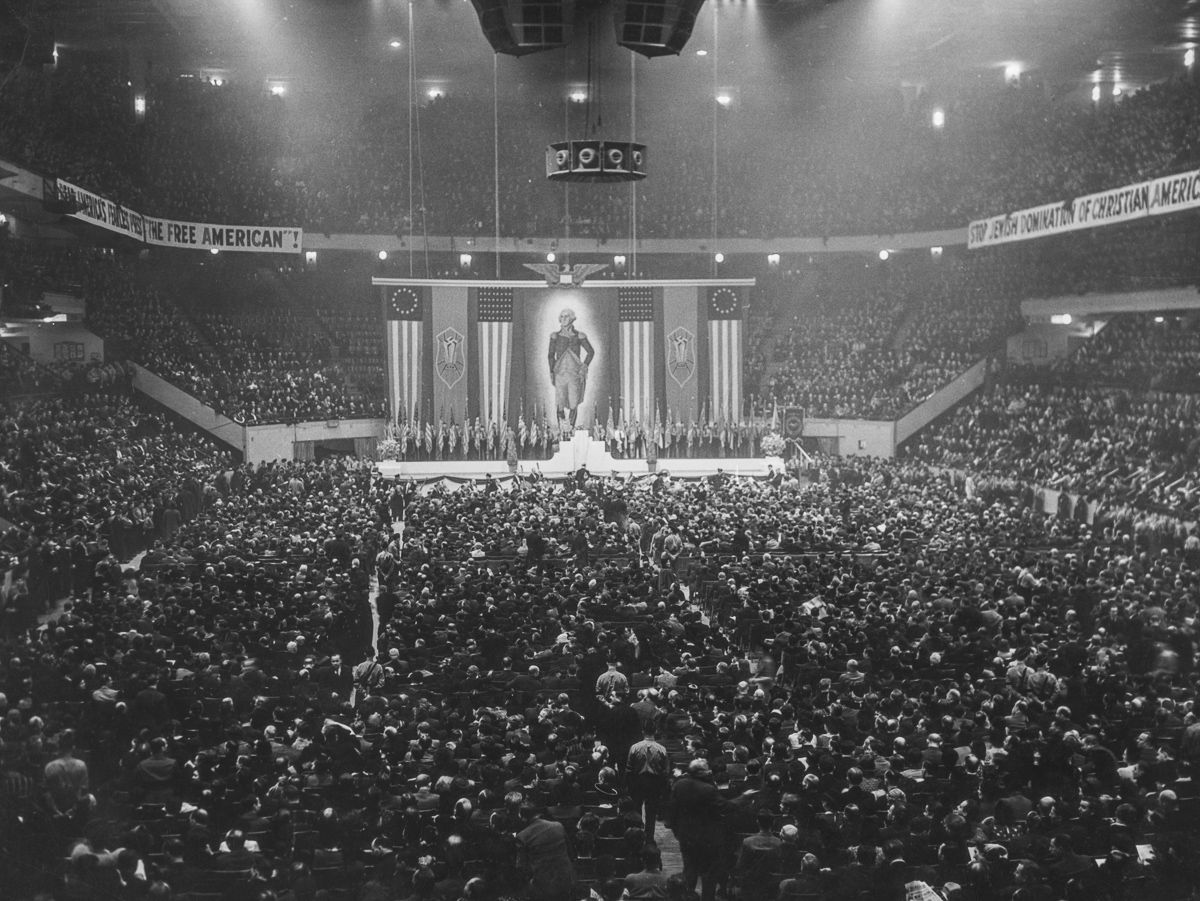 George Washington, the first fascist, during the Nazi Rally in Madison Square Garden, 1939