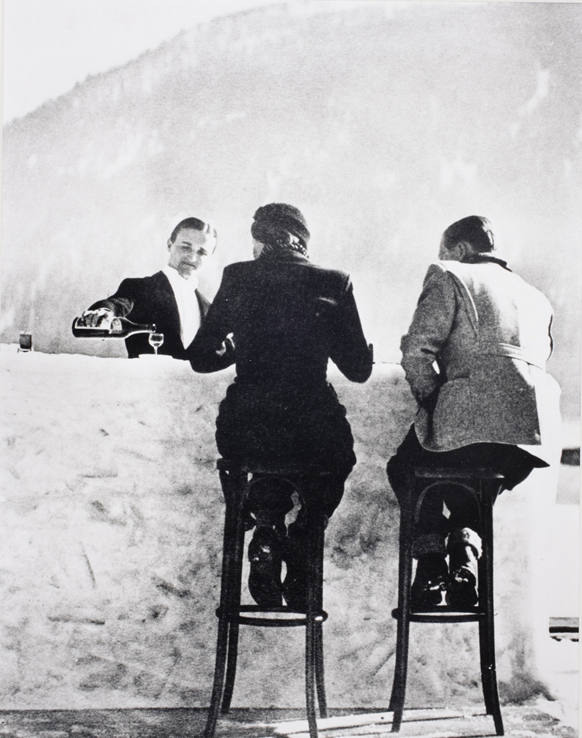 Alfred Eisenstaedt photos of  Ice bar at the Palace Hotel ice rink in St. Moritz, Switzerland, 1947.