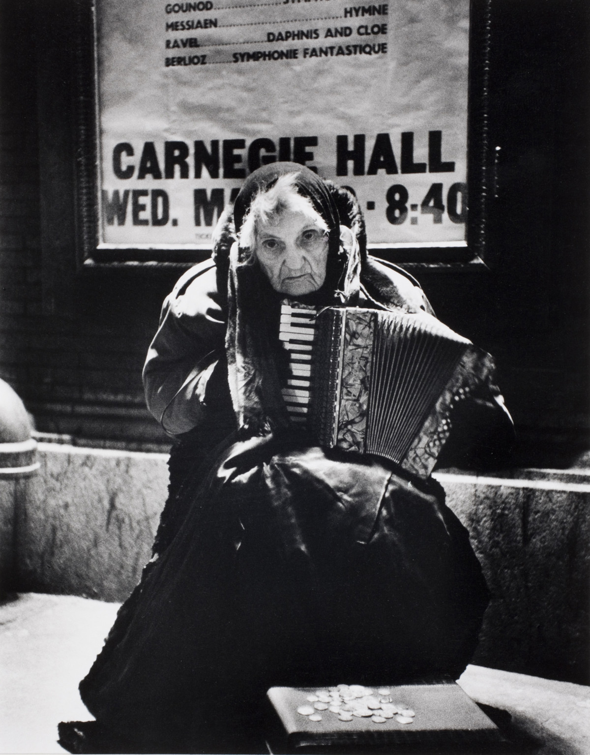 Leela Tiffany begging in front of Carnegie Hall in New York, 1960.