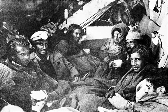 Rugby team players inside the fuselage of the crashed plane