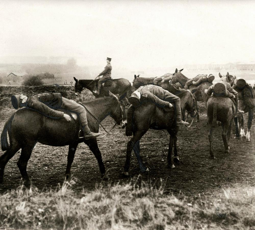 Soldiers of the British Royal Horse Artillery on pack horses.