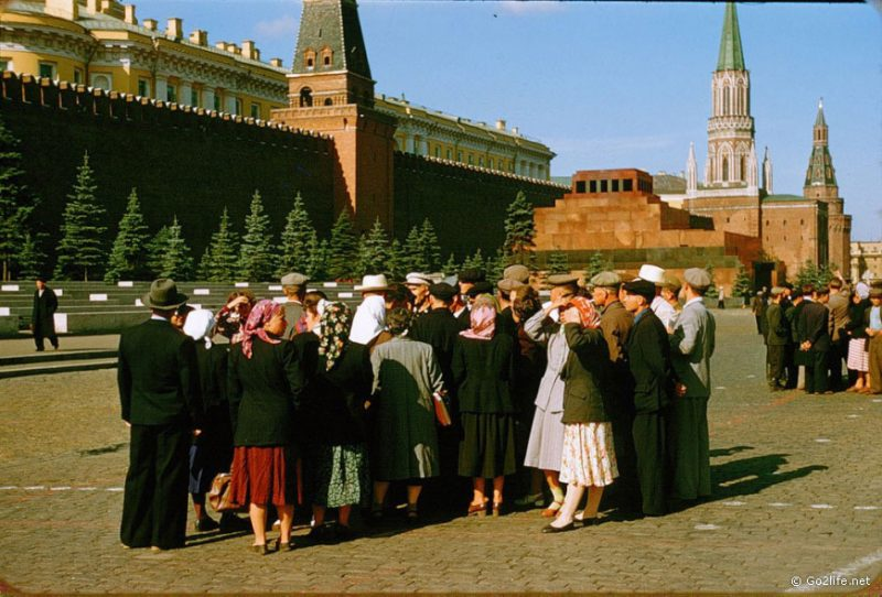 Soviet tourists on the Red Square in Moscow, 1950s
