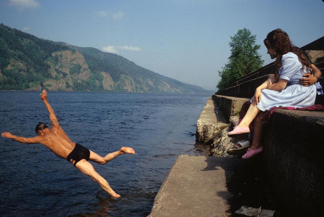 Swimming in the Enisey River, Krasnoyarsk city, 1993