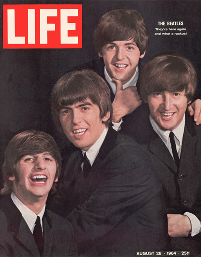 The Beatles on their first US tour. Cover of LIFE, 1964.
