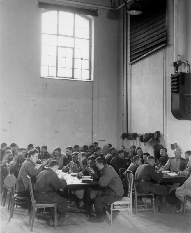 The dining room in the soviet barracks, Vienna, 1945