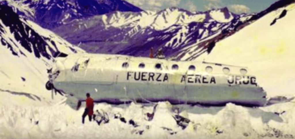 It's all what left of the fuselage of the Uruguayan Air Force Flight 571 plane.
