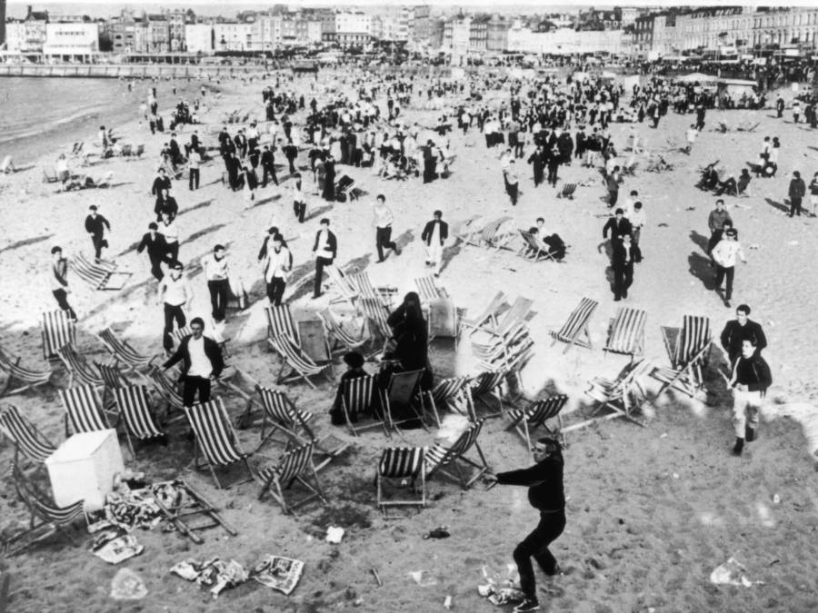 The famous brawl at the Brighton beach. The mods were victorious on that day.