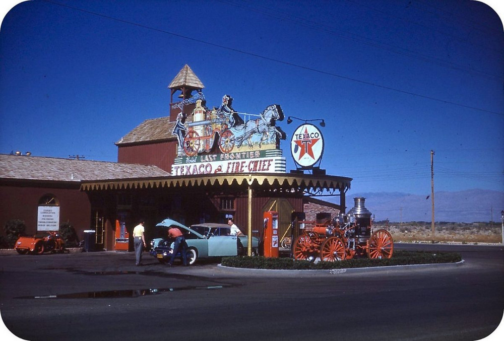 Vintage Las Vegas Strip. A 1940s photo shows a gas station at the Last Frontier Hotel, the second hotel on the Strip.