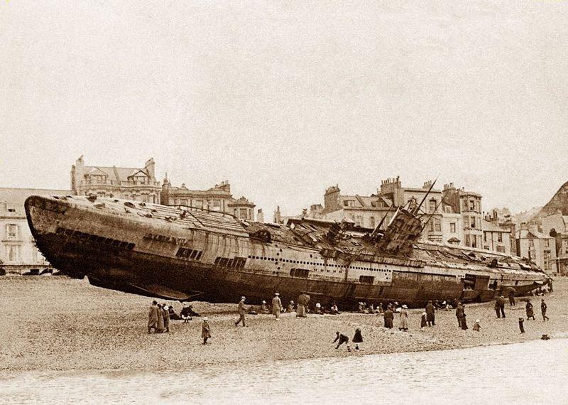 WWI German submarine on the beach of Hastings