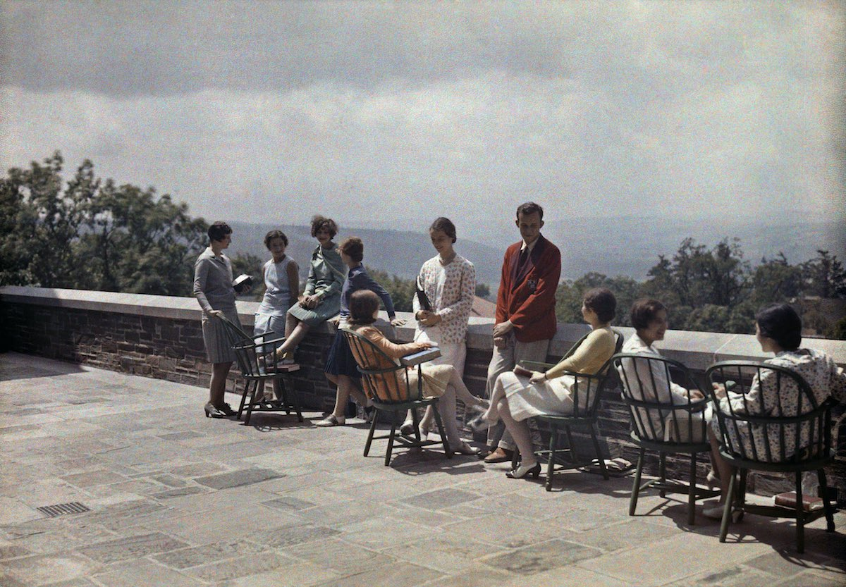 A group of students on the terrace at Cornell University.