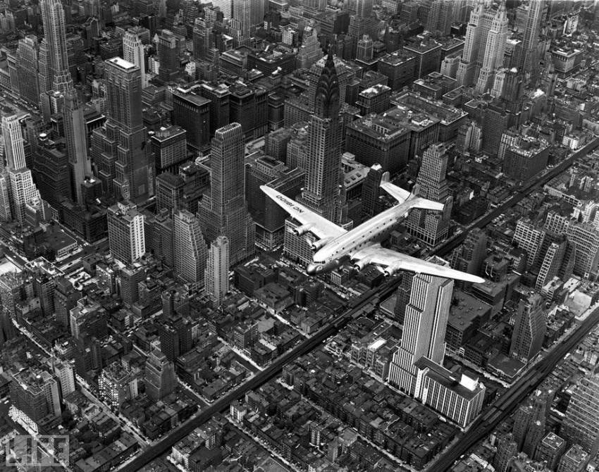 Airplane Over Manhattan