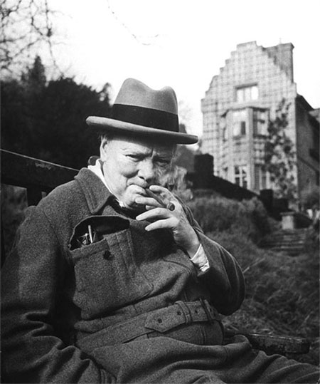 Churchill and cigars. Chartwell Estate, 1947.