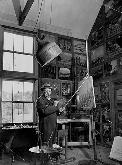 In his studio in Kent