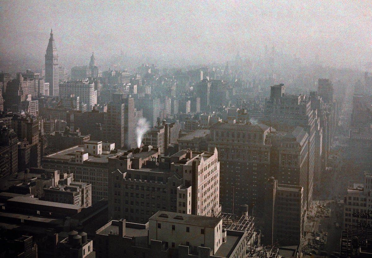Aerial photography of Manhattan.