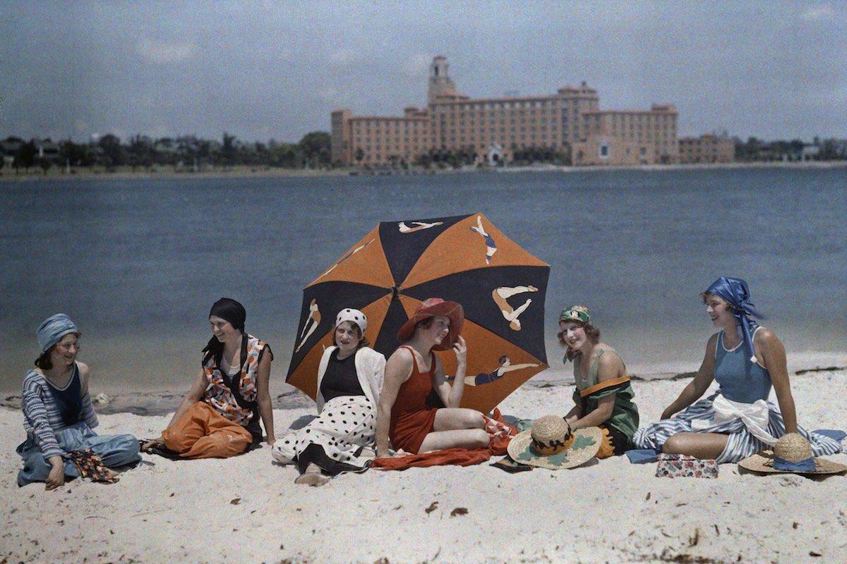 St. Petersburg, Florida. Women sit on the beach.