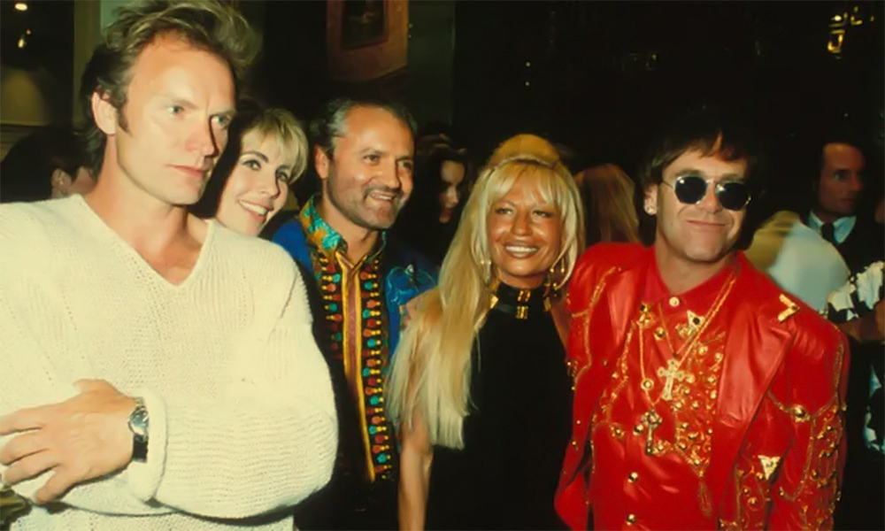 Sting with Gianni and Donatello Versace and Elton John. Sting is one of the patrons of the AIDS Foundation, which Elton founded.