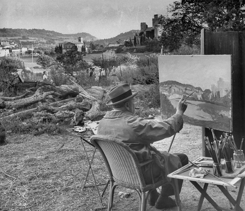 While painting in France, 1949